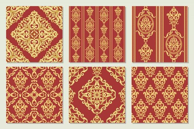 シームレスなダマスク織パターンのコレクションを設定します。ビンテージの豊かなロイヤルスタイルの金と赤のテクスチャ。ベクトルイラスト Premiumベクター