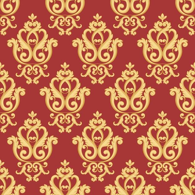 シームレスなダマスク模様。ヴィンテージ豊かなロイヤルスタイルの金と赤のテクスチャです。ベクトルイラスト Premiumベクター