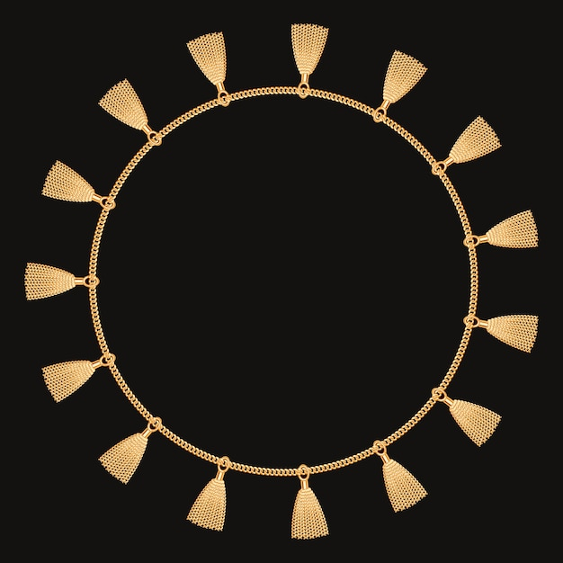 Круглая рамка с золотой цепью. на черном Premium векторы