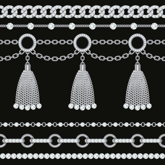 宝石とタッセルで銀の金属チェーンの境界線のコレクションを設定します。 Premiumベクター
