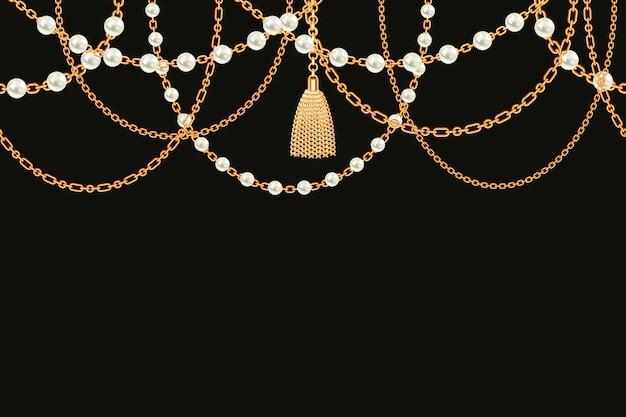 黄金の金属製のネックレスと背景 Premiumベクター