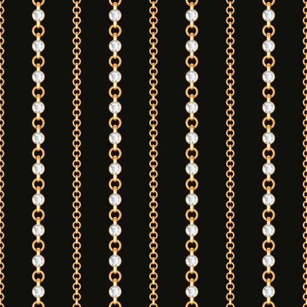 黒地にゴールドチェーンラインのシームレスパターン。 Premiumベクター