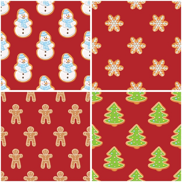 ジンジャークッキーのシームレスパターン。クリスマスと新年の背景は、コレクションを設定します。 Premiumベクター