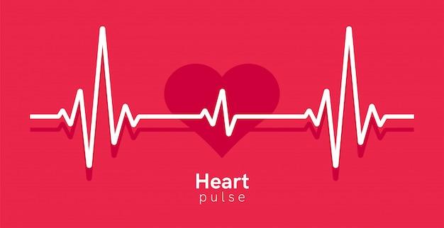 心臓パルス。ハートビートライン、心電図。赤と白の色。美しい医療、医療の背景。モダンなシンプルなデザイン。アイコン。サインまたはロゴ。フラットスタイルの図。 Premiumベクター