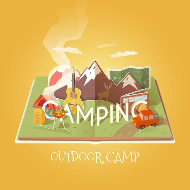 Открытая книга с объектами кемпинга. горный пейзаж. занятия на свежем воздухе. приключения на природе, отдых. иллюстрация для кемпинга. Premium векторы