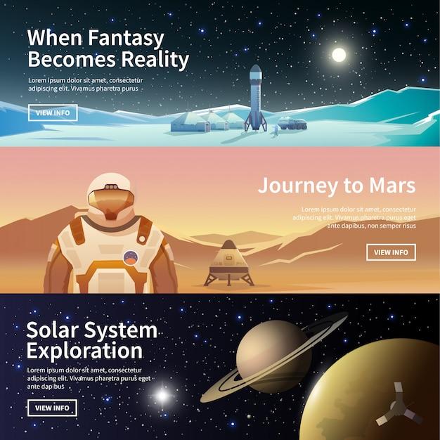 Веб-баннеры на тему астрономии Premium векторы