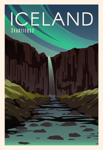 スヴァルティフォス、川。旅行の時間です。世界中で。品質のポスター。国立公園スカフタフェル。 Premiumベクター