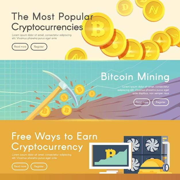 ビットコインデジタルマネー、暗号通貨システム、マイニングプール Premiumベクター