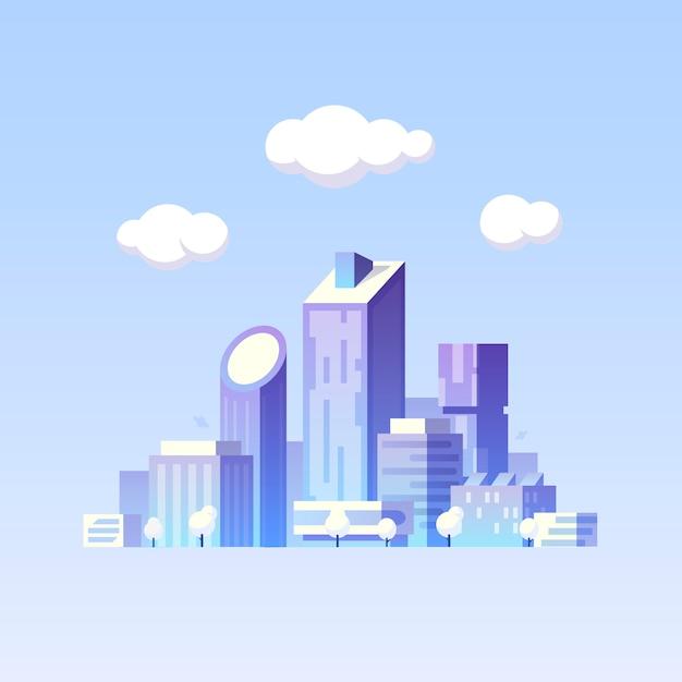 Иллюстрации. город будущего. современные здания. зеленый город Premium векторы