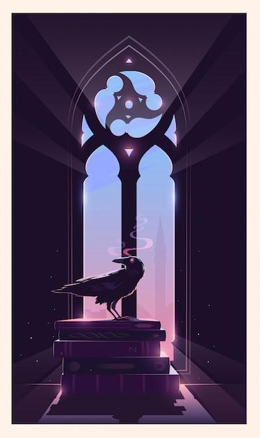 謎のイラスト。カラスは本の上に座っています。ゴシック様式の窓。秘密の管理人。 Premiumベクター
