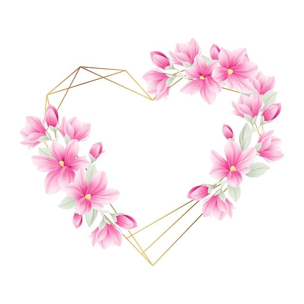 モクレンの花と花のフレームの背景 Premiumベクター