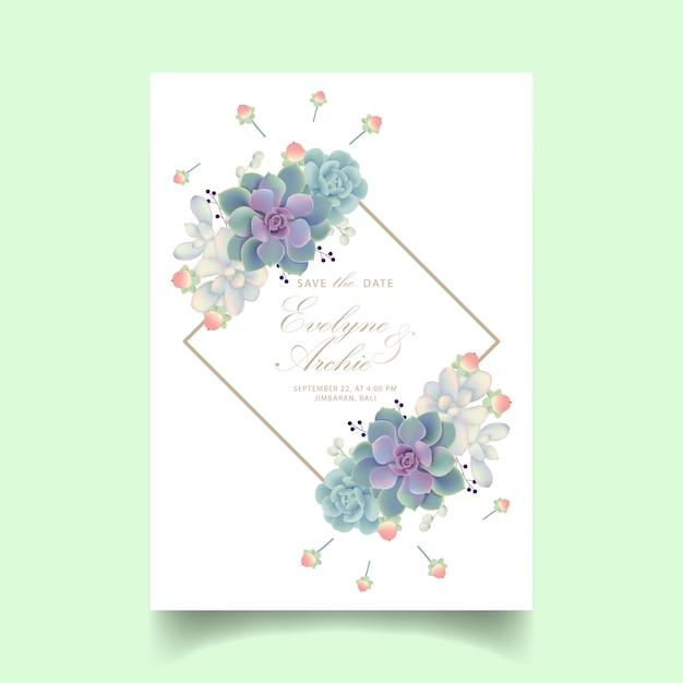 多肉植物と花の結婚式の招待状 Premiumベクター