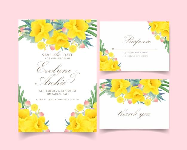 水仙の花と花の結婚式の招待状 Premiumベクター