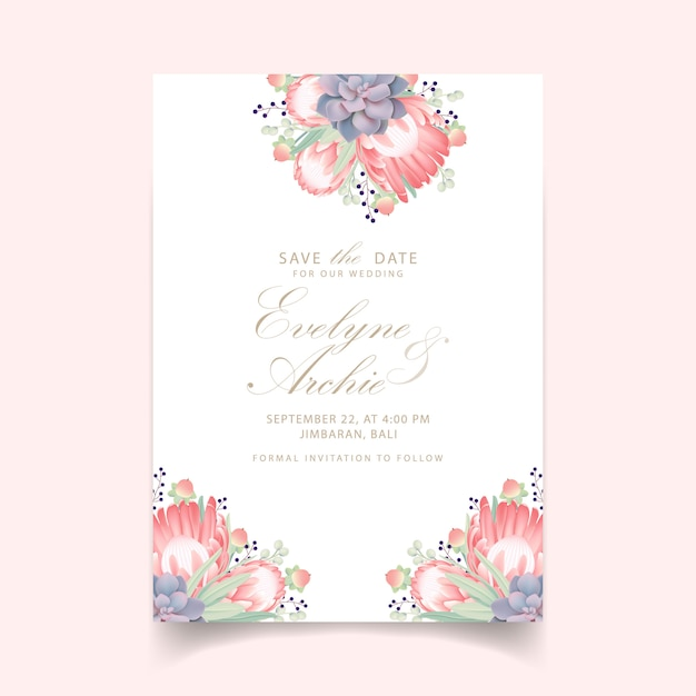 プロテア花と多肉植物の花の結婚式の招待状 Premiumベクター