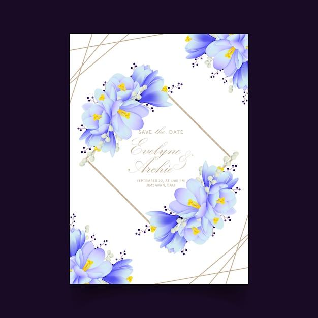 クロッカスの花と花の結婚式の招待状 Premiumベクター