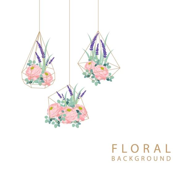ラナンクルスのバラとラベンダーの花の花の背景のデザイン。 Premiumベクター