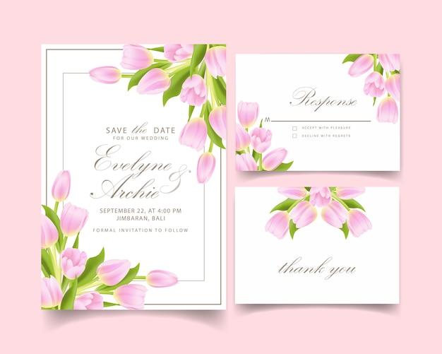 Свадебное приглашение с розовым тюльпаном Premium векторы
