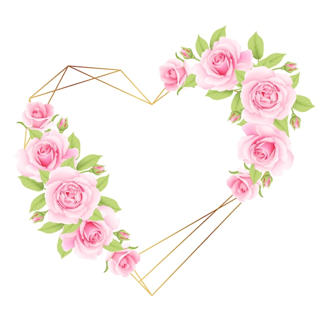 ピンクのバラと花のフレームの背景が大好き Premiumベクター