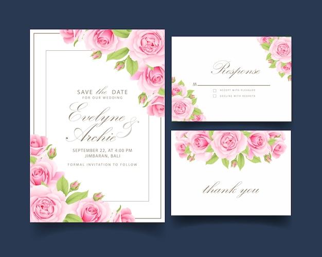 ピンクのバラと花の結婚式の招待状 Premiumベクター