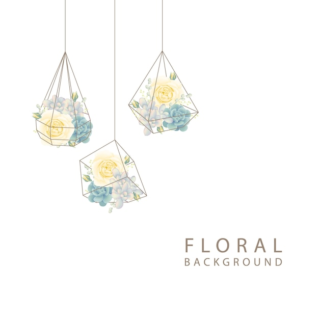 白いバラとテラリウムで多肉植物の花の背景 Premiumベクター