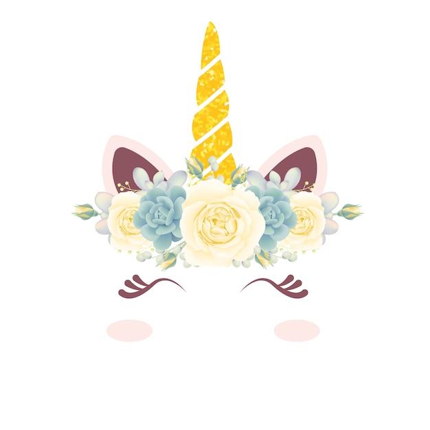 かわいい花のユニコーン Premiumベクター