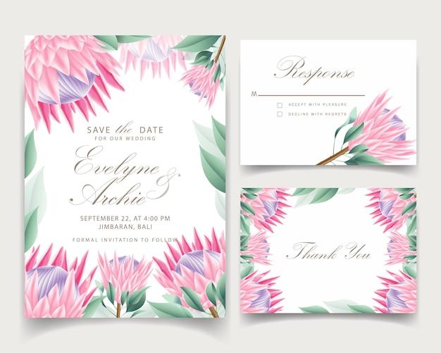 花結婚式招待状のテンプレート Premiumベクター