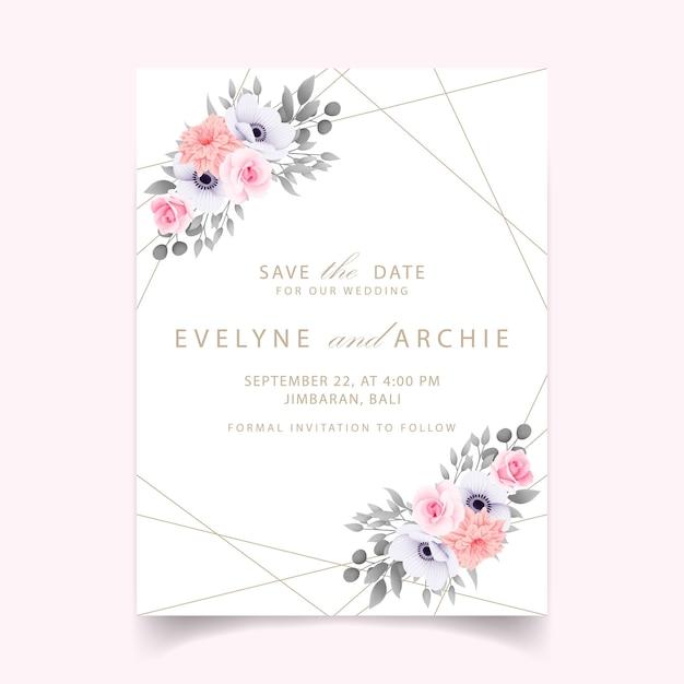 バラの結婚式の招待状 Premiumベクター