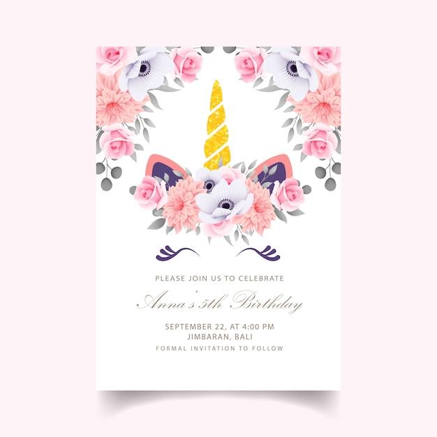 かわいいユニコーンと花の子供の誕生日の招待状 Premiumベクター