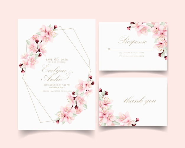 Цветочное свадебное приглашение с цветами вишни Premium векторы
