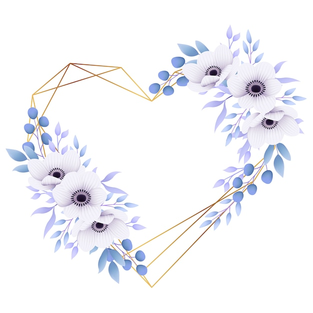 アネモネの花と花のフレームの背景が大好き Premiumベクター