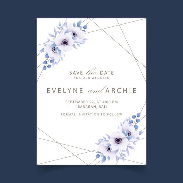 Свадебное приглашение с цветами анемона Premium векторы