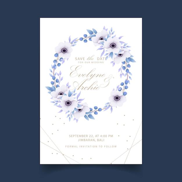 アネモネの花と花の結婚式の招待状 Premiumベクター