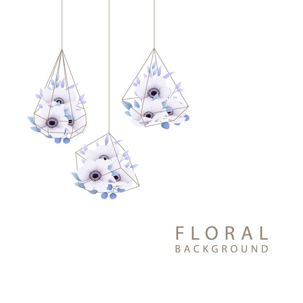テラリウムのアネモネの花と花の背景 Premiumベクター