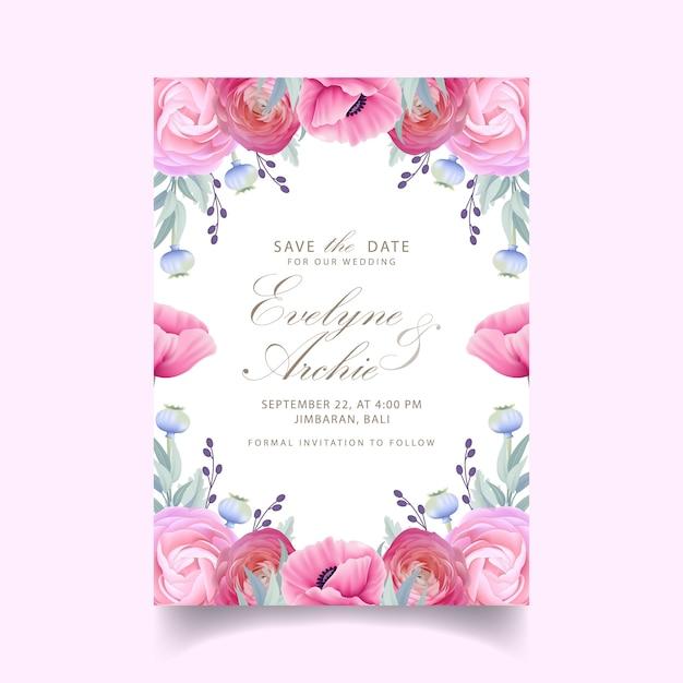 花のラナンキュラスとケシの花の結婚式の招待状 Premiumベクター