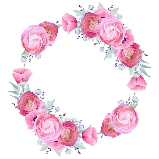 花のラナンキュラスとケシの花のフレームの背景 Premiumベクター