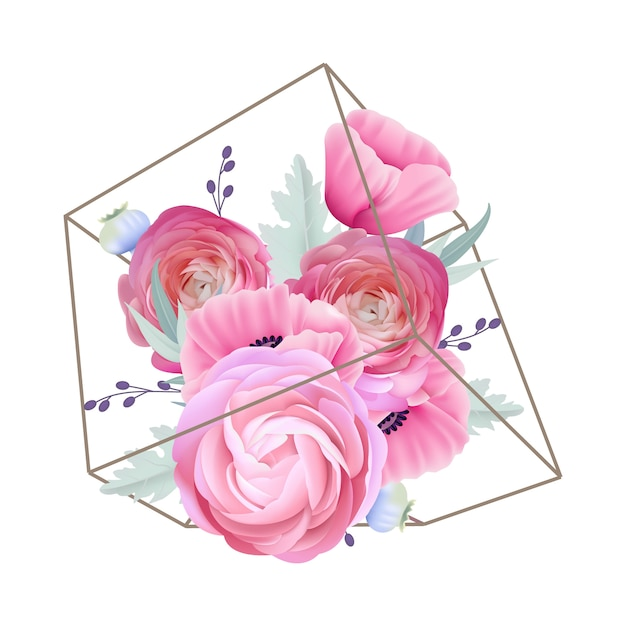 Цветочный фон с лютиками и цветами мака в террариуме Premium векторы