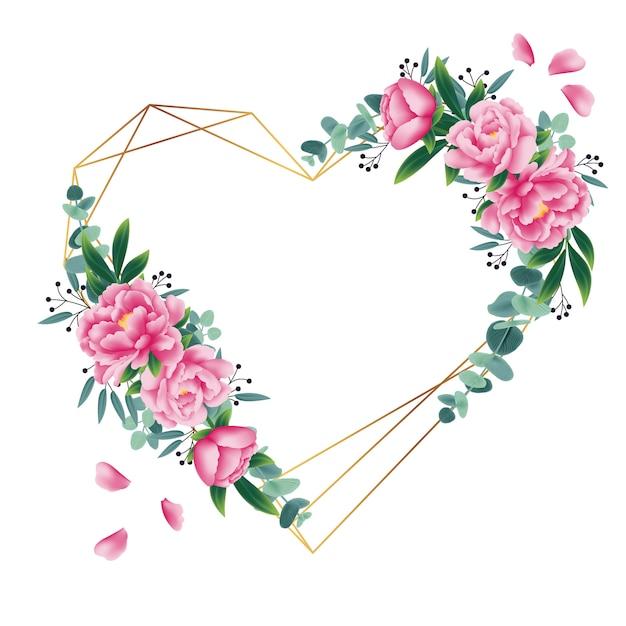 Цветочный фон с пионным цветком и листьями эвкалипта Premium векторы