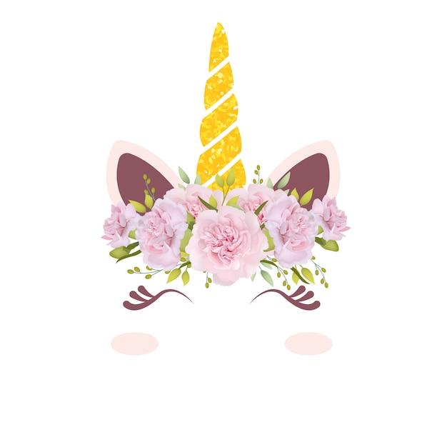 かわいい花柄ユニコーン Premiumベクター