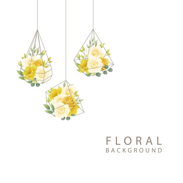 バラと水仙の花と花の背景 Premiumベクター