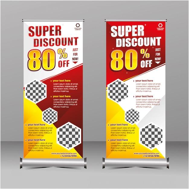 赤と黄色のモダンなジオメトリロールアップスタンディングスーパーセール割引バナーテンプレート、特別オファー Premiumベクター