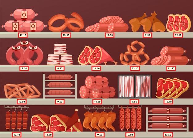 精肉店や露店の肉製品 Premiumベクター