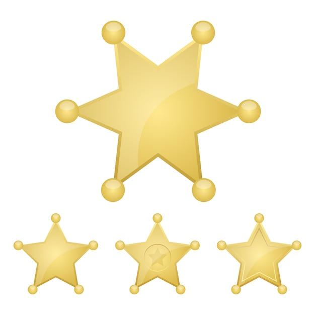 Иллюстрация значка золотой звезды шерифа на белой предпосылке Premium векторы