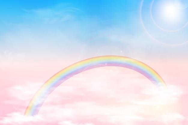 Абстрактное небо с облаками цвета. солнце и облака фон с мягким пастельным цветом. фантазия волшебный пейзаж фон с красочными облачно солнечное небо, реалистичные яркая радуга, пушистые облака. вектор Premium векторы