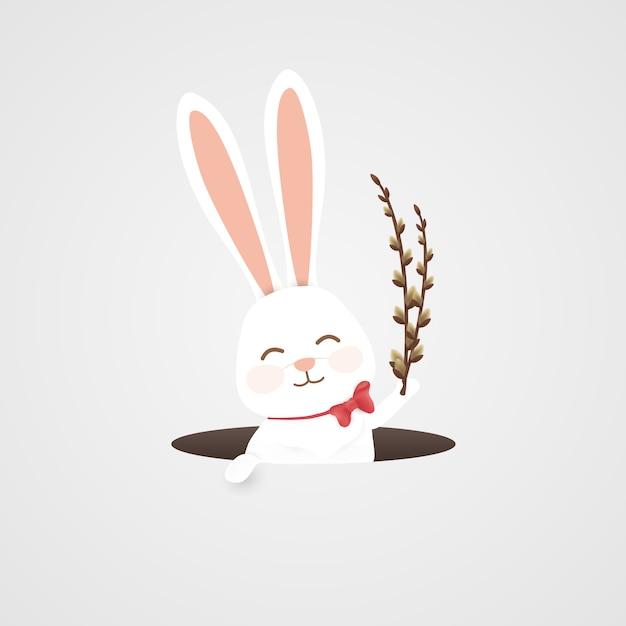 Счастливой пасхи фон с кроликом в норе Premium векторы