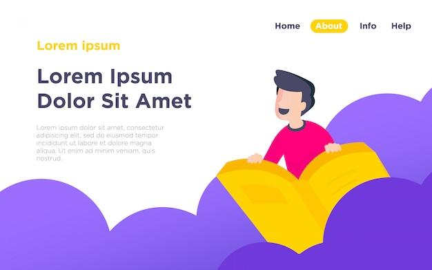 Целевая страница онлайн-обучения Premium векторы