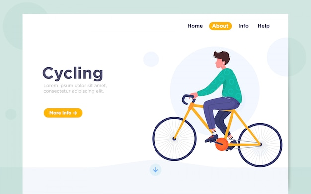 サイクリングのモダンなフラットランディングページの図 Premiumベクター