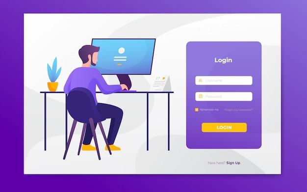 モダンなフラットウェブサイトのログインページのテンプレート Premiumベクター