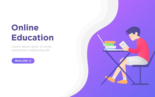 Онлайн образование целевой страницы фоновой иллюстрации Premium векторы