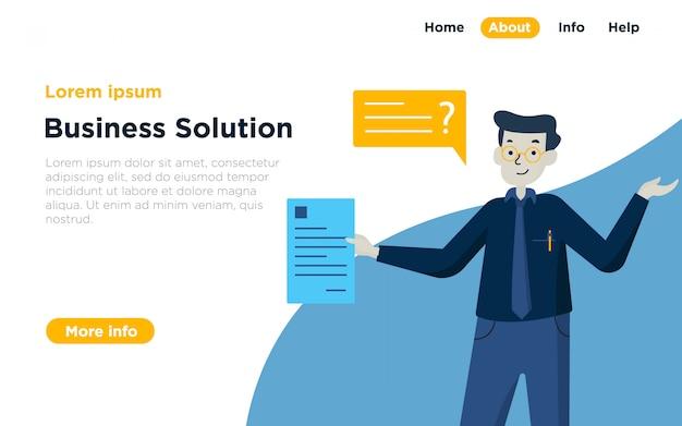 Фон иллюстрации целевой страницы бизнес-решения Premium векторы