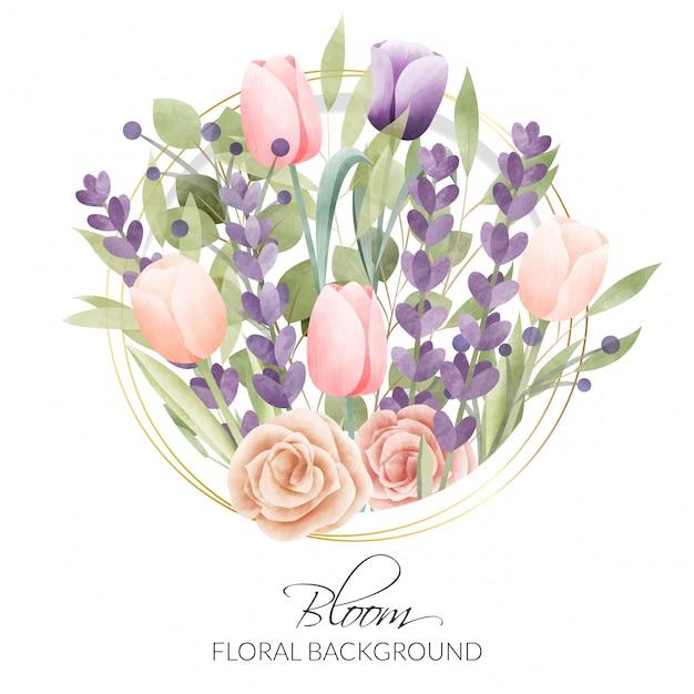 Акварель цветочная рамка. многоцелевой фон. Premium векторы